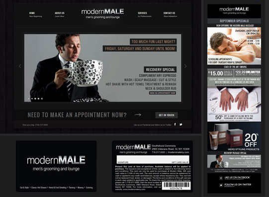 Modern Male Branding - Web Design, Print Design, Marketing